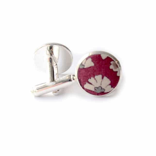 boutons de manchette fleuri caracas rouge