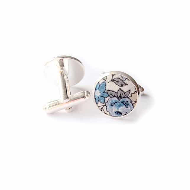 boutons de manchette fleuri panama bleu