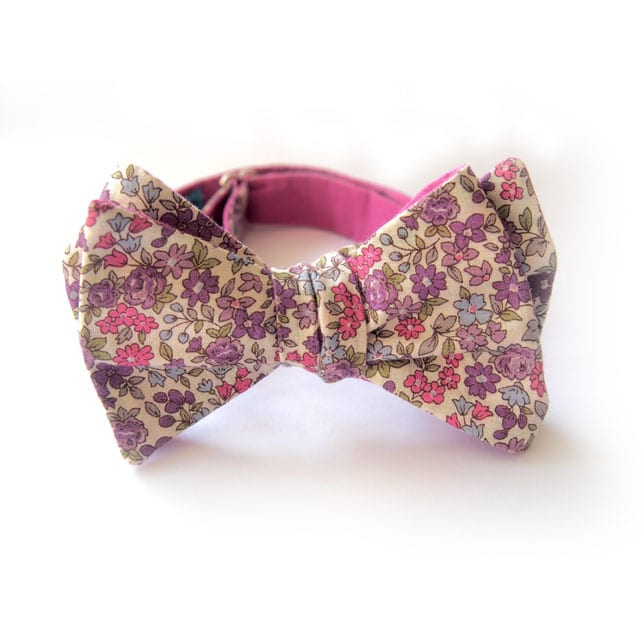 noeud papillon fleuri seattle rose violet