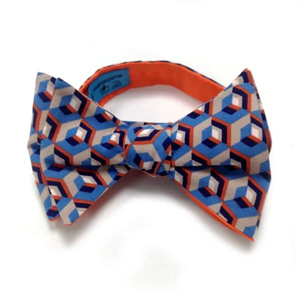 noeud papillon imprime new york bleu orange
