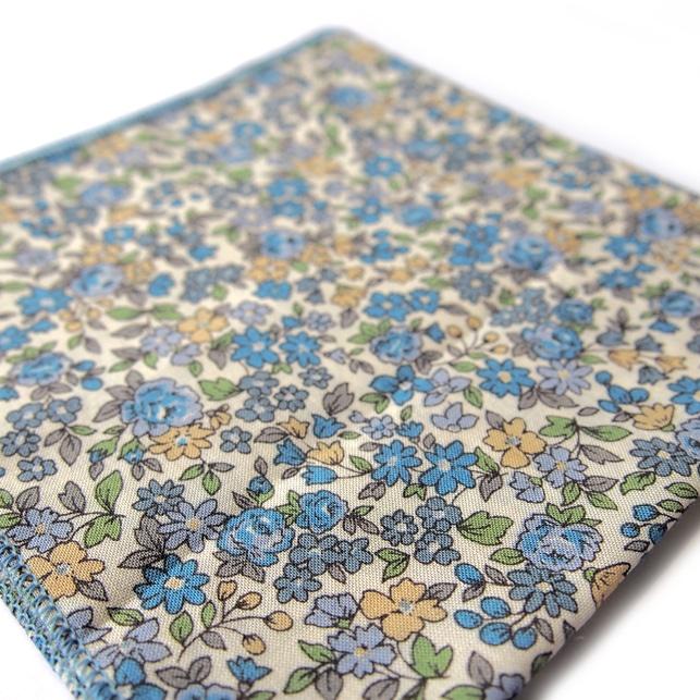 pochette fleuri panama bleu