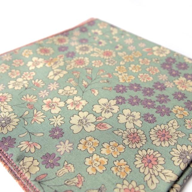 pochette fleuri santiago vert