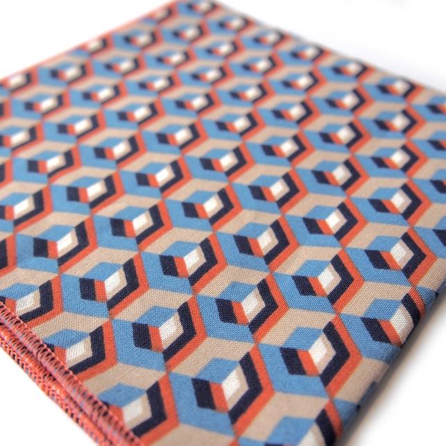 pochette imprime new york orange bleu