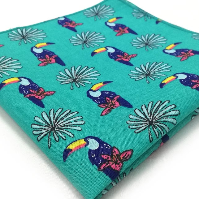 pochette tropical turquoise bleu